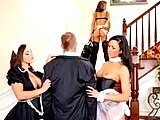 Check these 3 super hot lingerie maids get fucked hard in this hot 3some group sex maid fuck movies